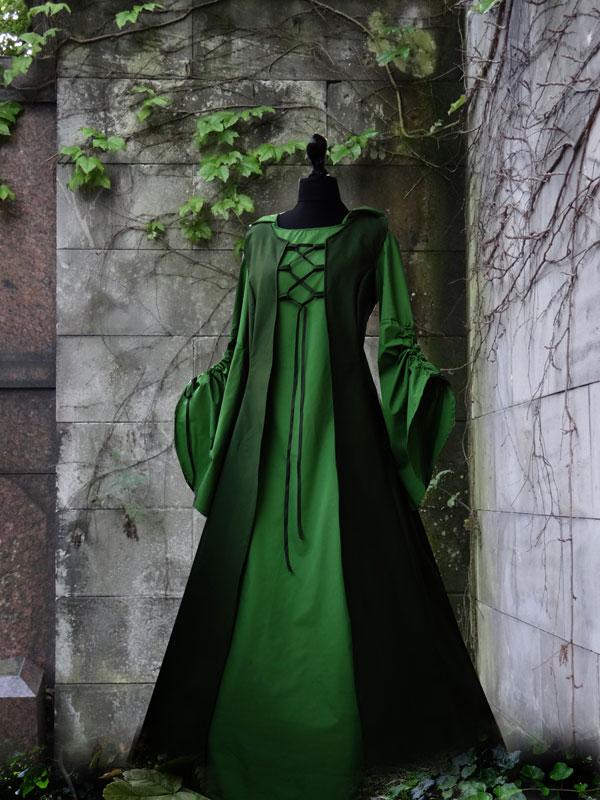 Mittelalterkleid grün Weste Schürze Magdkleid Schürzenkleid Mittelaltermarkt