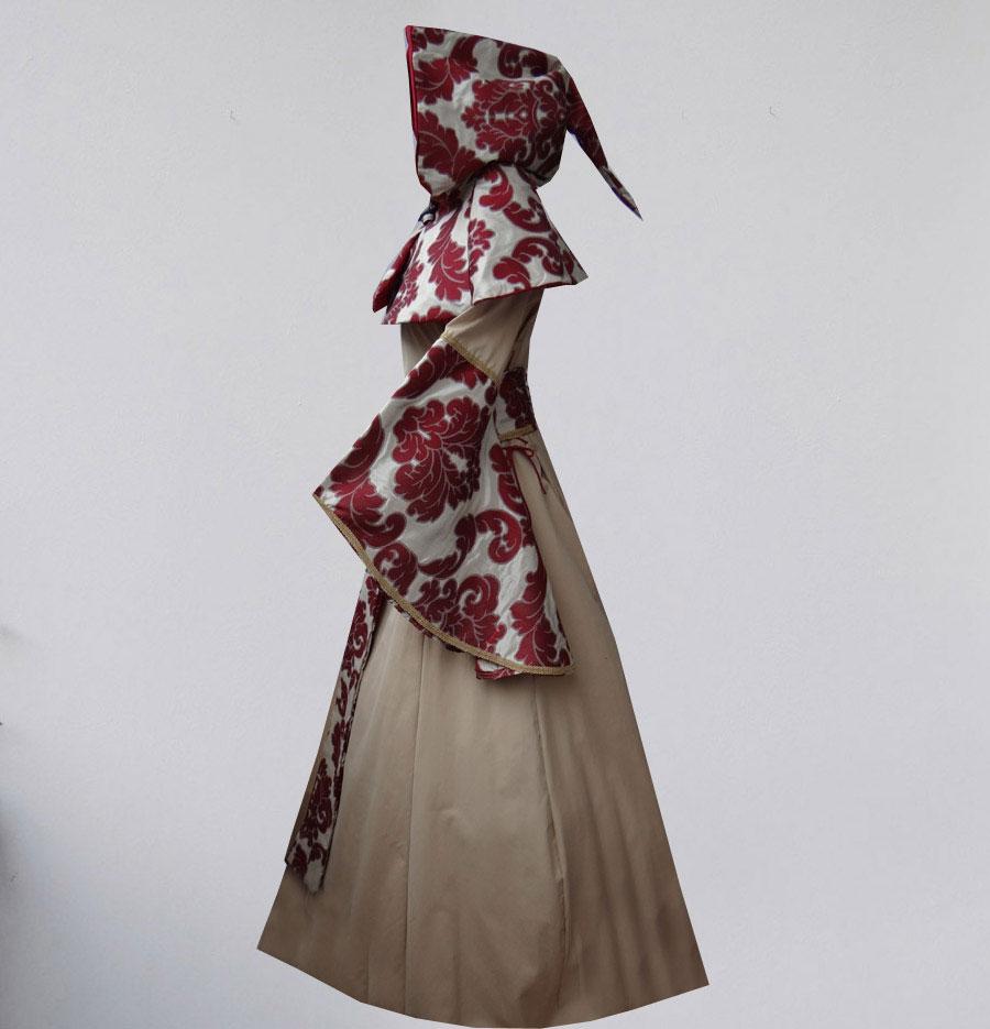 Gugelumhang Brokatkleid Kostüme Mittelalter Gugelumhang weinrot Brautkleid Hochzeitskleid