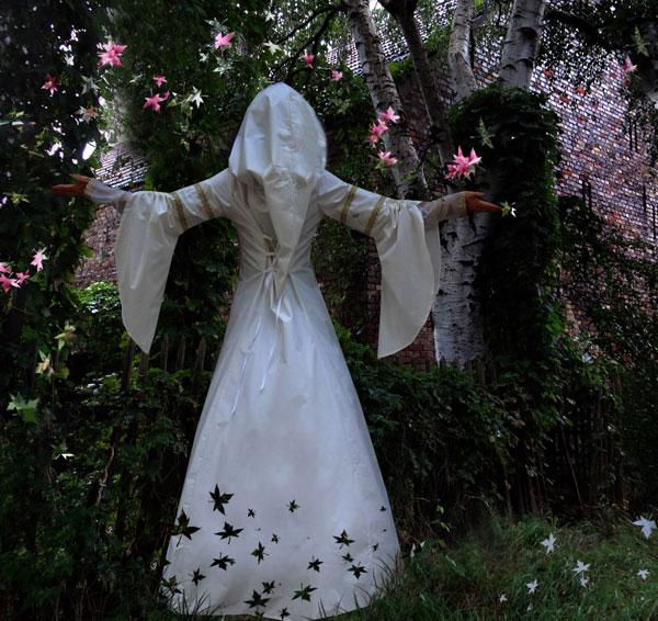 Elfenkleid bestickt Brautkleider Hochzeitskleider Kapuzenkleid Elbenkleid