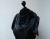 Elfenschal Punkte taubenblau Schwarz mit Filzblume