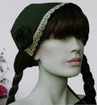 Romantische Mittelalterhaube grün Mütze Haube...