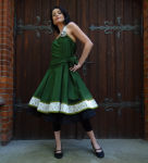 Romantik Petticoatkleid Grün beige Tanzkleid mit...