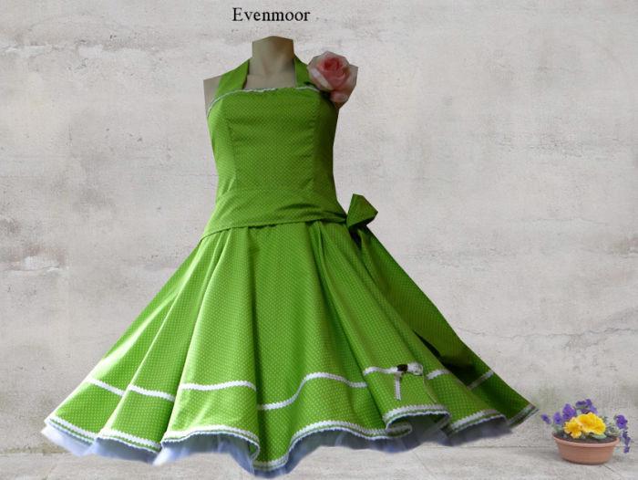 79bf9d7ab6da24 Petticoat Kleid 60er Jahre Punkte hellgrün Petticoatkleid, 109,00 €