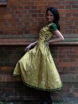 Romantik Kleid Brautkleid senfgelb Stickerei & Taft