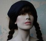 Mittelalter Mütze Haube schwarz mit  Schnecken