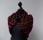 Wollstrickschal Bolero schwarz grün rot Filzblume