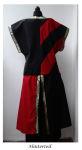 Mittelalter Waffenrock Tunika rot schwarz Streifen