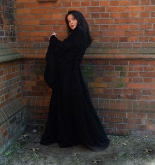 Mittelalter Gewand Samtkleid Schnürung Schwarz