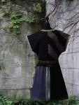 Mittelalter Waffenrock Tunika lila schwarz Streifen