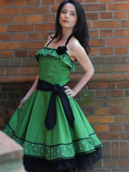 Romantik Volant Kleid Petticoat Tanzkleid Grun 129 00