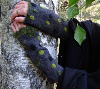 Wollstulpen Punkte Grau Grün Armstulpen Stulpen