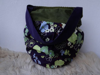 Romantik Tasche Schultertasche lila grün