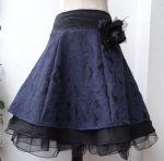 Romantik Rock blauer Brokat Stufenrock Petticoat