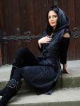 Mittelalter Samtweste Samt Mantel Kapuzenmantel grau schwarz