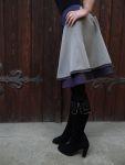 Stufenrock grau lila Stiefelrock
