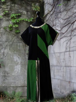 Mittelalter Waffenrock Tunika schwarz grüne Streifen