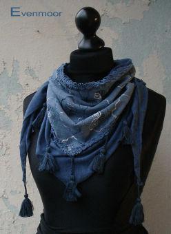 Quastentuch floral Blumentuch blau
