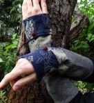 Romantik Armstulpen blau grau Stulpen Wolle