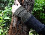 Warme Winterstulpen grün Streifen und grau