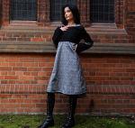 Kapuzenkleid Kleid Kapuze schwarz grau Brokat
