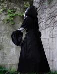 Dunkelelfen Kleid Mittelalter Brokat Kapuzenkleid Larp