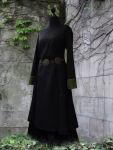 Mittelalterkleid Unterkleid knielang schwarz grün