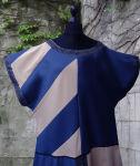 Mittelalter Waffenrock Tunika Beige Blaue Streifen