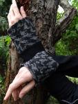 Wollstulpen Armstulpen Grau Schwarz Pepita