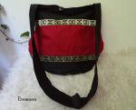 Mittelaltertasche schwarz Rot Goldborte Tasche Mittelalter