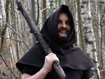 Zipfel Umhang kurz Wolle dunkelbraun Mittelalter