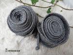 Beinwickel schwarz grau Wolle Wickelgamaschen