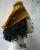 Baskenmütze Senfgelb mit Stoffspirale
