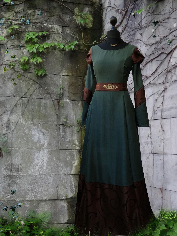 Waldelfenkleid Brokat braun grün Ornamentgürtel Mittelaltergewandung