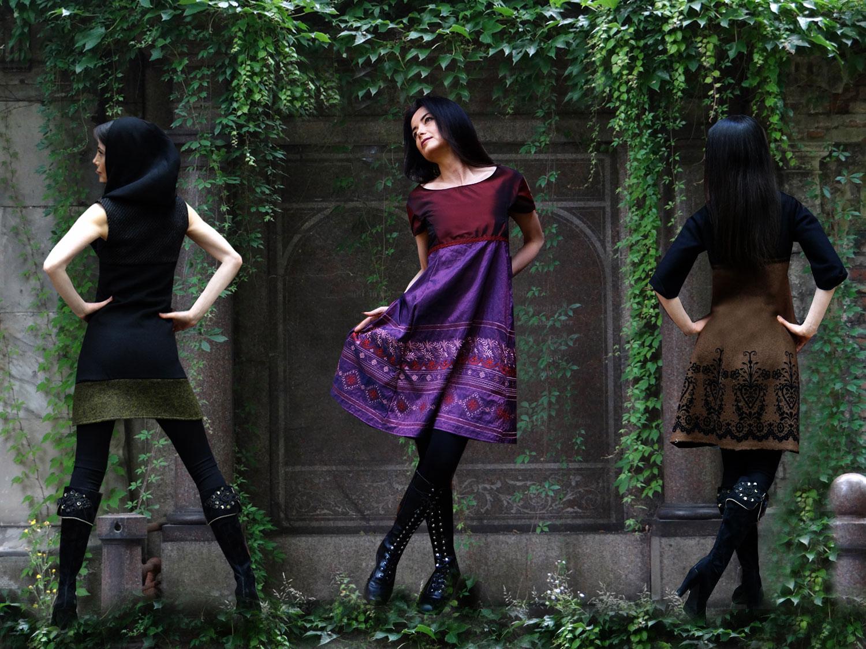 Kapuzenkleider Wollkleid Winterkleid Romantikkleid Fashion Wollstoff Kapuze
