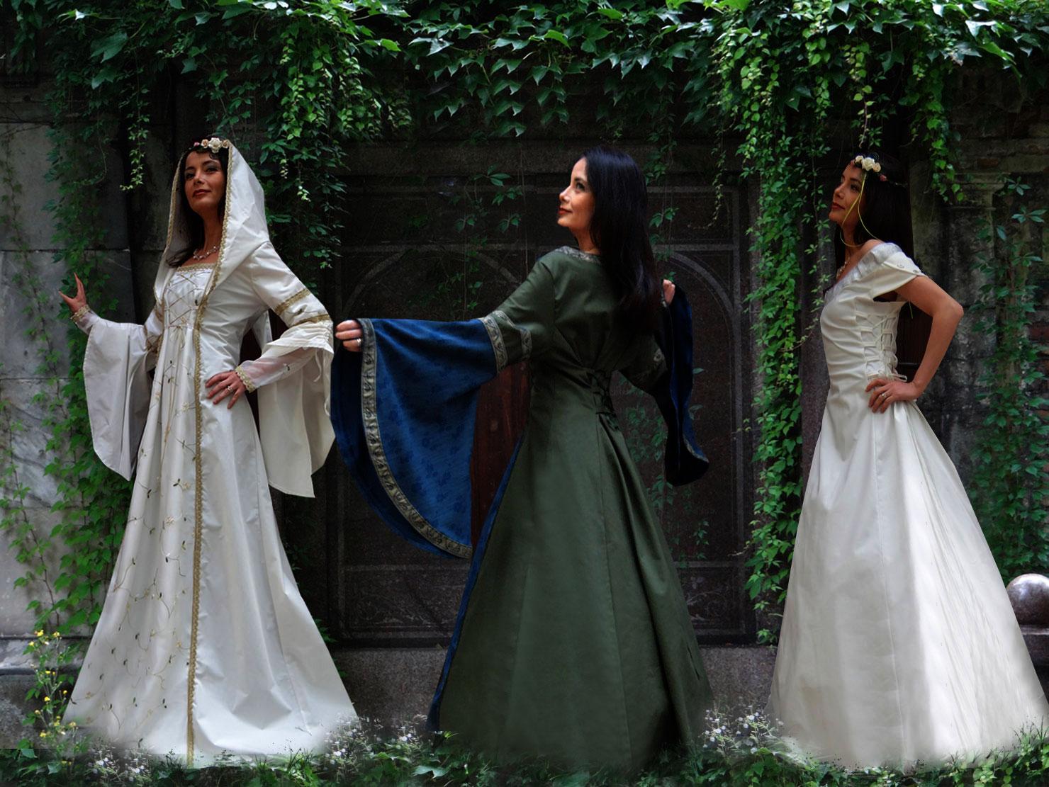 Brautkleid Hochzeitskleid Kapuze Mittelalterkleid Kleid Mittelalter