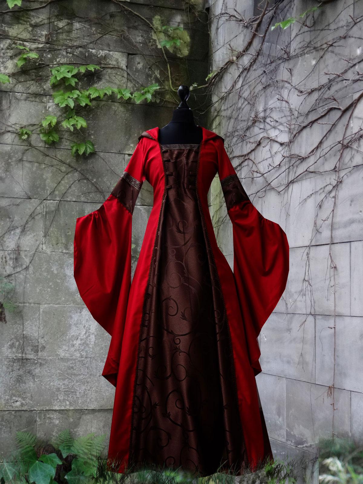 Brokatkleid Mittelalter Kapuzenkleid braun rot Trompetenärmel Medieval Dress